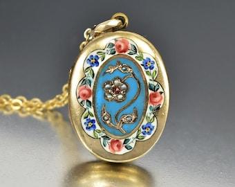 Antique Pearl Garnet Enamel Gold Locket, Antique Victorian Photo Locket, Forget Me Not Flower Engraved Bohemian Love Token Anniversary Gift