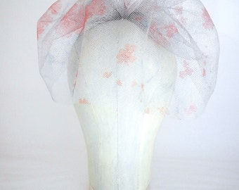 "Floral Bird Cage Veil, Blue, Silver, Blusher Veil, Short Veil, Wedding Veil, Floral Veil, Bridal Veil, 9"" Bird Cage Veil, Retro Veil"