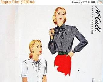 on SALE 25% OFF 1940s Blouse with Bow Pattern McCalls Pattern Misses Size 14 Shirt Vintage Sewing Patterns 40s