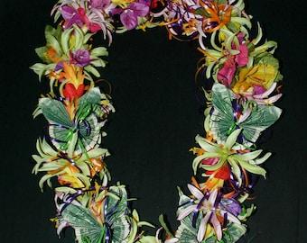 Hawaiian Silk Flower 20 Dollar Money Lei