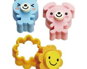203567 bear dog sun Bento food cutters