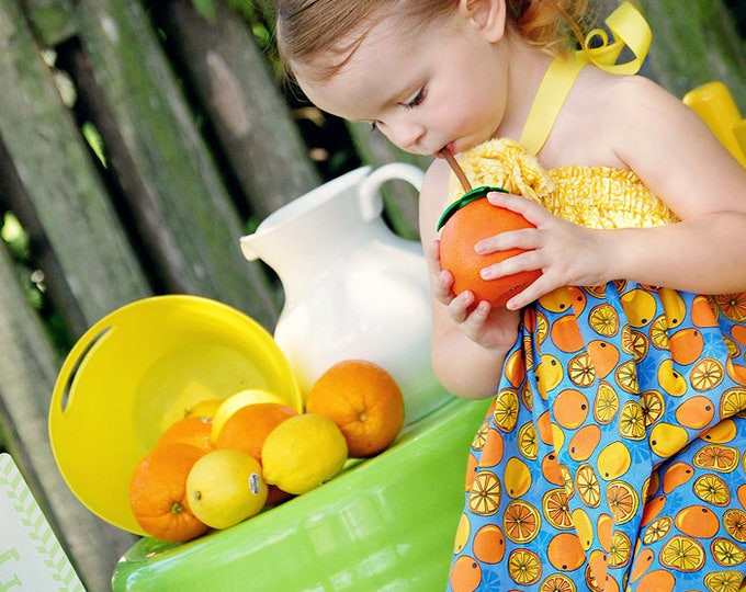 Girls Summer Clothes - Beach Style - Toddler Dress - Fourth of July - Tropical - Lemonade - Handmade in Sizes 3 months to 5 years