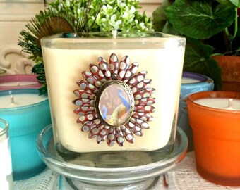 Soy Wax Embellished Photo Candle, Peacock Beads,Vintage Locket,YOUR SCENT CHOICE,Homemade,Hand Poured,Inspirational Charm or Monogram Charms