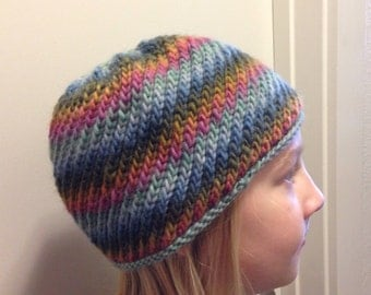 Child's Knit Hat Wool Self Striping