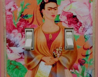 Shrine to Frida Double switch plate covers & MATCHING SCREWS- Frida altered art Frida photos Frida art print Frida light switch cover plates