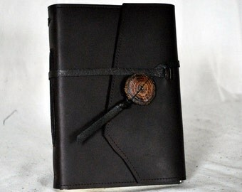 Dark Chocolate Leather Journal with Lined Paper- Large