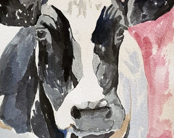 Cow print of original watercolor painting 13 x 19 paper size Holstein cow print Black and white cow print Cow decor Fine art print