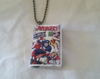 Mini Avengers Comic Book Pendant