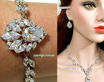 Marquise Bridal Jewelry Set, Leaves Bridal Earrings, Statement Bridal Necklace, Vine Bridal Bracelet, Woodland Wedding Jewelry, CASSANDRA