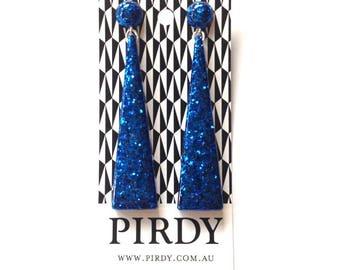Reserved for Charlene.Handmade Triangle Drop Earrings. Large long chandelier statement dangle resin earrings in sapphire blue glitter.