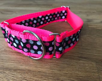 Pop Star Polka Dog Hot Pink Martingale Dog Collar,  Training dog collar, Greyhound dog collar. Collars dogs can't back out of!