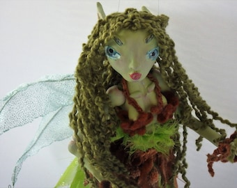 SPRIG, paper clay primitive puppet art doll, handmade in the USA