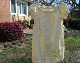 Girl's Yellow Upcycled Peasant Style Dress Size 3-4