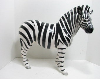 "Wales Zebra Figure, Hollywood Regency Huge 18"" Figurine Africa Animal, Platinum Record Sales Award RIAA"