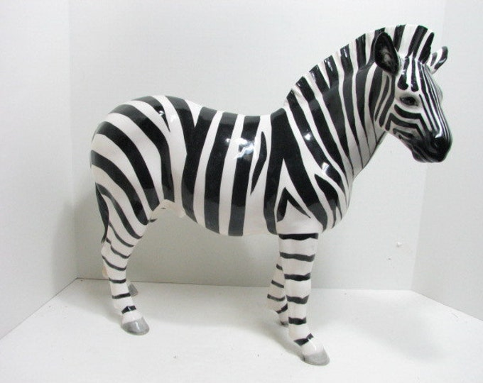 "Wales Vintage Zebra Figure, Hollywood Regency Huge 18"" Figurine Africa Animal, Platinum Record Sales Award RIAA"