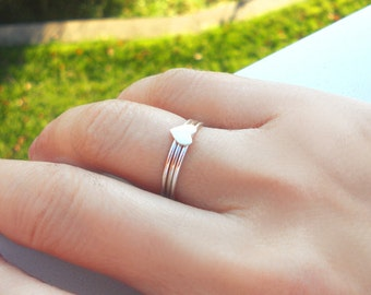 Sterling Stack Rings, Stacking Ring Set,  Set of 3, Sterling Heart w/ 2 Dainty Bands, Choose Smooth or Twisted bands