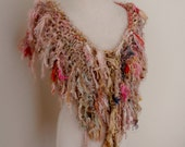 sale Scarf Recycled silk chunky hand knitted boho tattered rag scarf pinks