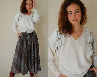 sale 25% off Leather Fringe Sweater Vintage 80s Ivory Slouchy Knit Boho Indie Fringe Sweater (m l)
