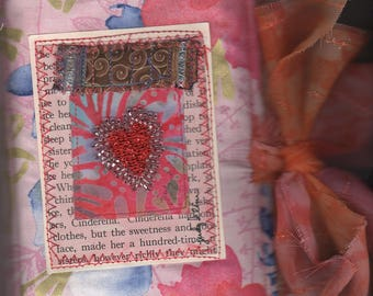 Pink Poppy Mixed Media Fabric Paper Junk Journal