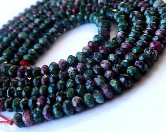 Ruby Zoisite Gemstone. Semi Precious Gemstone Bead. Faceted Gemstone  Rondelles,  4mm.  Strand Your Choice.  (arz)