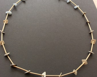 Silver, brass and pale blue angelite gemstone necklace.