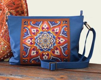OOAK La Scala Blue Boho Leather Handbag, Crossbody Bag