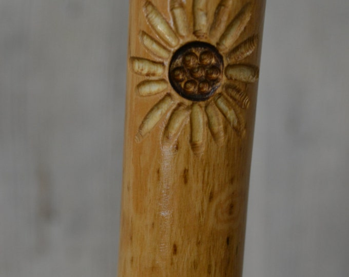 Flower Carving on Ash Walking Stick, Staff, Natural Hiking Stick, Kiln Dried, Sturdy, Strong,  Leather Strap, Ash Wood Strong Sticks