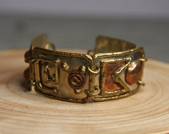 Handmade BRACELET- Boho Linked with Mixed Metals- Adjustable Handcrafted Jewelry- Copper Brass