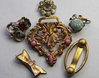 Vintage JUNK JEWELRY Lot- Buckle Brooch Earrings- Rhinestone- Embellishments- Jewelry Lot- A