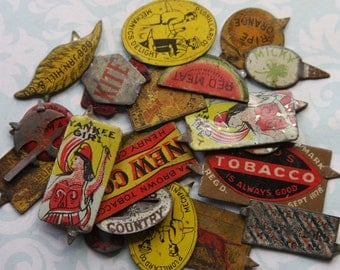 Vintage TOBACCO TAGS- 22 Pieces- Tobacco Plug- Tobacciana Smoking Collectible- Advertising Tins