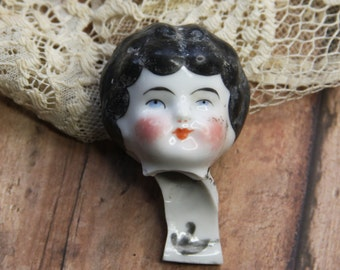 Antique Painted Doll Head from Germany- European Frozen Charlotte- Altered Art Supply Doll Parts