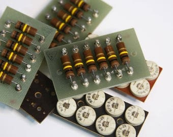 Vintage Radio Resistors and Parts Capacitors- Robot Supply- Industrial Gadget- Electrical