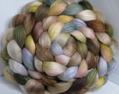 Organic Polwarth/Bombyx 80/20 Roving Combed Top 5oz - Sepia with Olives 1 - OoaK