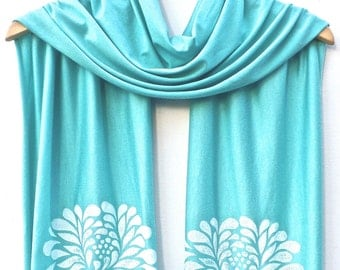 Hand Printed Jersey Scarf CHRYSANTHEMUM in WHITE ink. Available in many colors!