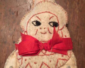 Antique follart clown pirrot cloth doll