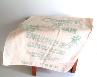 Vintage Muslin Rice Sack Comet Long Grain Rice Vintage Graphics Faded Green Craft Supply Cottage Farmhouse Decor