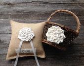 Flower Girl Basket, Ring Bearer Pillow, Personalized Pillow, Burlap Pillow, Burlap Ring Bearer Pillow, Ivory Wedding, Flower Girl Pail