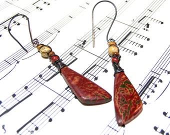 Red Creek Picasso Jasper Earrings Bohemian Jewelry for Women