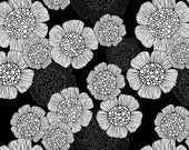 Black and White Illustrated Flower Fabric - Tilly By Valentinaharper - Vintage Hand Drawn Floral Cotton Fabric By The Yard With Spoonflower