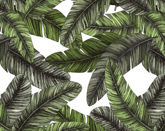 Banana Leaf Fabric - Tropical Palm Leaves By Adehoidar - Modern Banana Leaf Home Decor Cotton Fabric By The Yard With Spoonflower