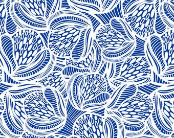 Blue and White Fabric - Deco Buds Blue By Kirstenkatz - Floral Mid Century Blue and White Cotton Fabric By The Yard With Spoonflower