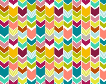 Colorful Chevron Fabric - Mod Multicolor Chevron By Mrshervi - Chevron Cotton Fabric By The Yard With Spoonflower