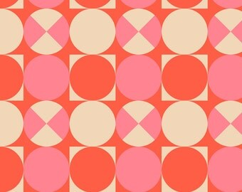 Summer Coral Fabric - Lottie Dottie Pink And Coral Dots By Mariafaithgarcia - Mod Geometric Cotton Fabric By The Yard With Spoonflower