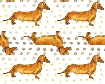 Dachshund Fabric - Oliver Boy By Emilysanford - Watercolor Dog Doxie Dachshund Cotton Fabric By The Yard With Spoonflower