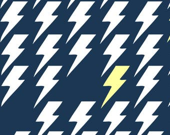 Navy Flash Fabric - Bolts1 By Littlefacesapparel - Lightning Bolt Cotton Fabric By The Yard With Spoonflower