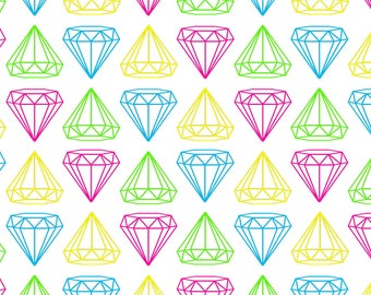 Rainbow Jewels Fabric - Neon Diamonds On White By Maemaemills - Rainbow Hipster Diamond Cotton Fabric By The Yard With Spoonflower