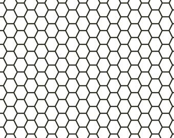 Subway Tile Fabric - Subway Tile Hex By Holli Zollinger - Geometric Black and White Hipster Hexo Cotton Fabric By The Yard With Spoonflower