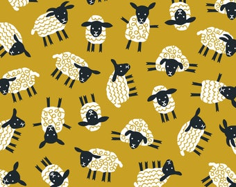 Mustard Sheep Fabric - Little Ditsy Sheep Ochre By Heleen Vd Thillart - Baby Nursery Sheep Cotton Fabric By The Yard With Spoonflower