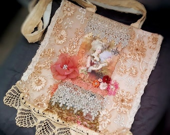 Marie Antoinette over the shoulder bag, wearable art womens purse, bead embroidered cotton canvas tote bag, crossbody, vintage lace