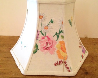 """Cottage Flower Lamp Shade #2, Hex Bell Lampshade in Vintage English Embroidery, 5""""t x 10""""b x 7.5""""h washer top, Lovely Needlework"""